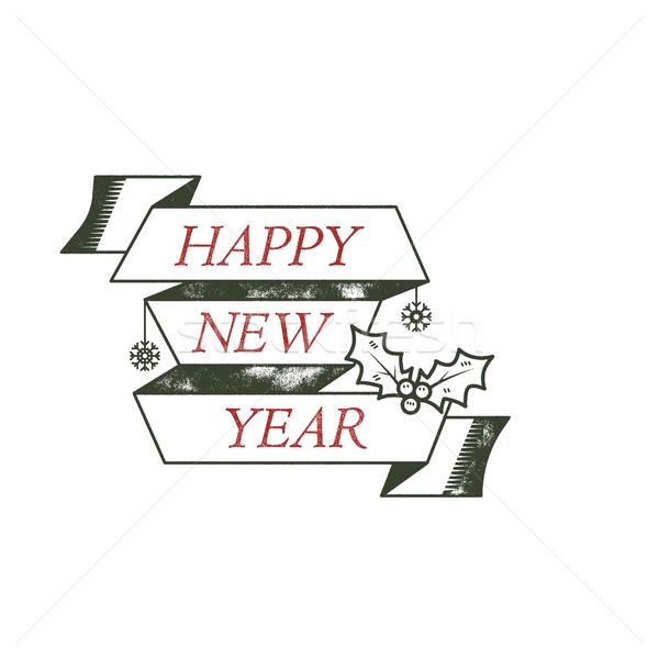 Boldog új évet tipográfia kívánság felirat illusztráció karácsony Stock fotó © JeksonGraphics