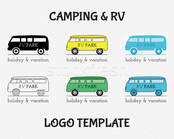 Outdoor Activity Travel Logo Vintage Labels design template. RV, forest holiday park, caravan motor  Stock photo © JeksonGraphics
