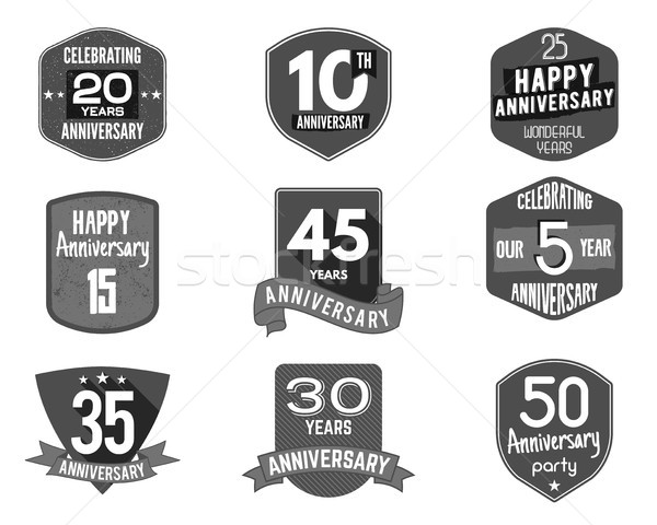 Anniversary badge set. Illustration of  signs and emblems. Flat  logo designs in   retro styles. Eas Stock photo © JeksonGraphics