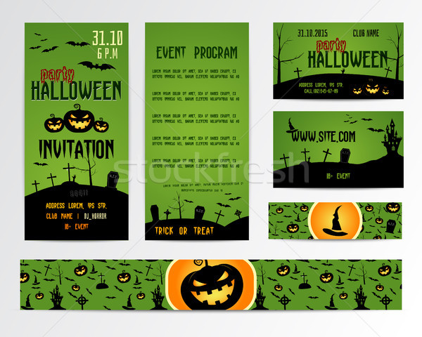Set Of Happy Halloween Greeting Cards, Flyer, banner. Vector Illustration. Party Invitation Design w Stock photo © JeksonGraphics