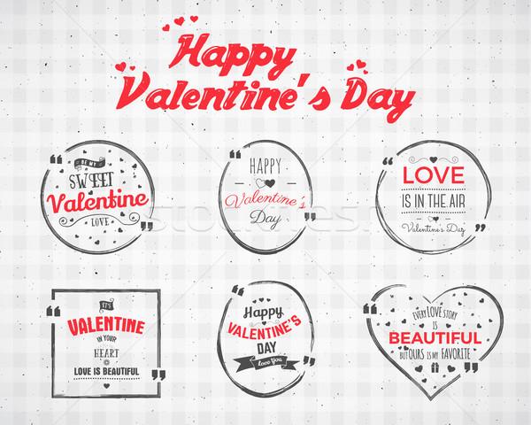 Valentin nap nap vízfesték tinta csobbanás idézet Stock fotó © JeksonGraphics