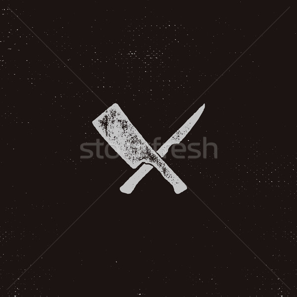 meat cleaver and knife symbols. Vintage steak house symbol. Letterpress effect with sunbursts. Vecto Stock photo © JeksonGraphics