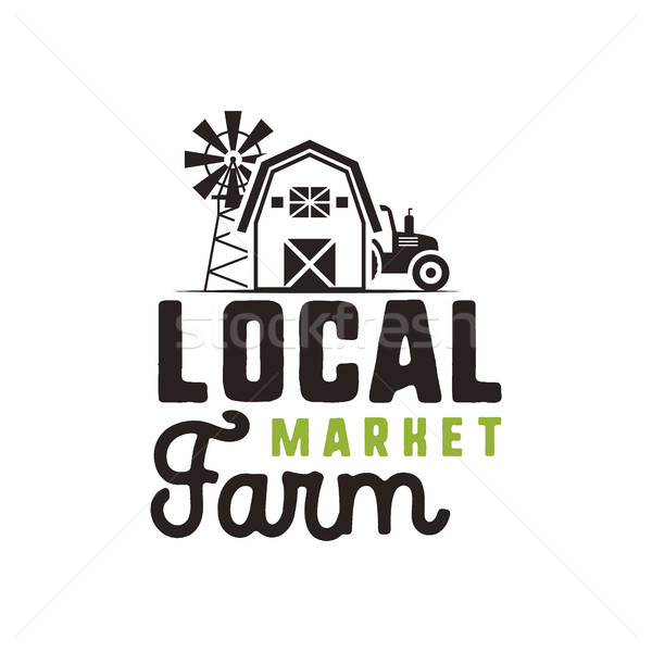 Local farm market logo design and label template. Included farmer symbols - tractor, barn, windmill. Stock photo © JeksonGraphics