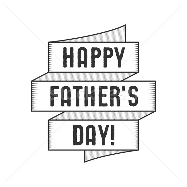 Happy Fathers Day Typography label with ribbon and texts. Stock isolated on white background. Monoch Stock photo © JeksonGraphics