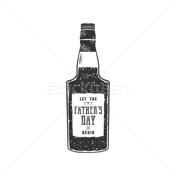 Fathers day label design. Rum bottle with sign - Let Fathers day begin. Funny holiday concept for ce Stock photo © JeksonGraphics