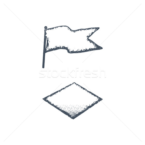 Hand drawn blank vintage flag and rhombus shape. Retro roughen style. Easy to change color. Stock il Stock photo © JeksonGraphics