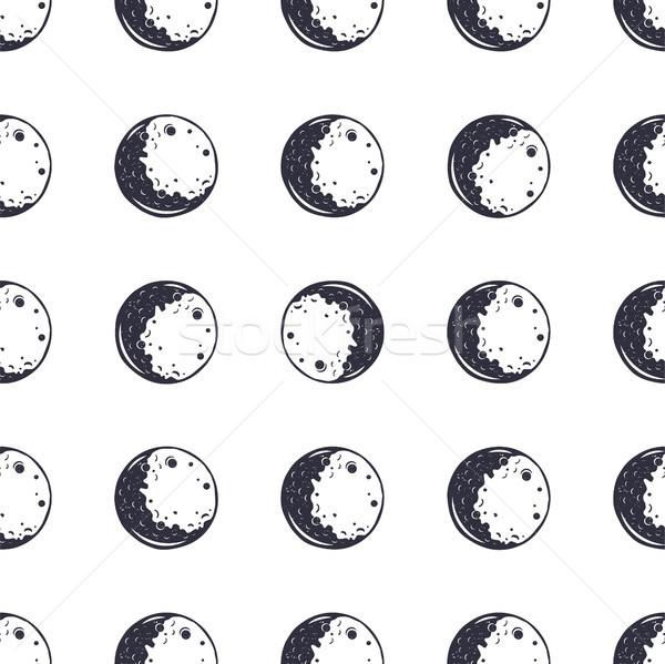 Hold végtelen minta monokróm klasszikus kézzel rajzolt terv Stock fotó © JeksonGraphics
