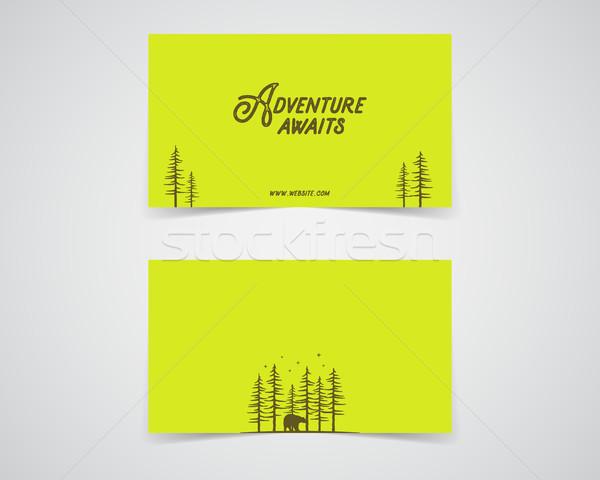 Foto stock: Limpar · cartão · de · visita · modelo · montanha · floresta · caminhadas