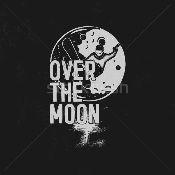 Over the moon poster design. Hand drawn moon space t shirt with snowboarder. Unique tee shirt on mo Stock photo © JeksonGraphics