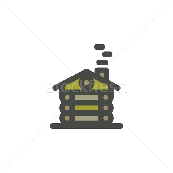 Summer adventure landscape with wooden house in forest. Outdoor scene, adventures in nature with tre Stock photo © JeksonGraphics