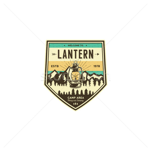 Camping and hiking vintage badge. Mountain explorer label. Outdoor adventure logo design with lanter Stock photo © JeksonGraphics