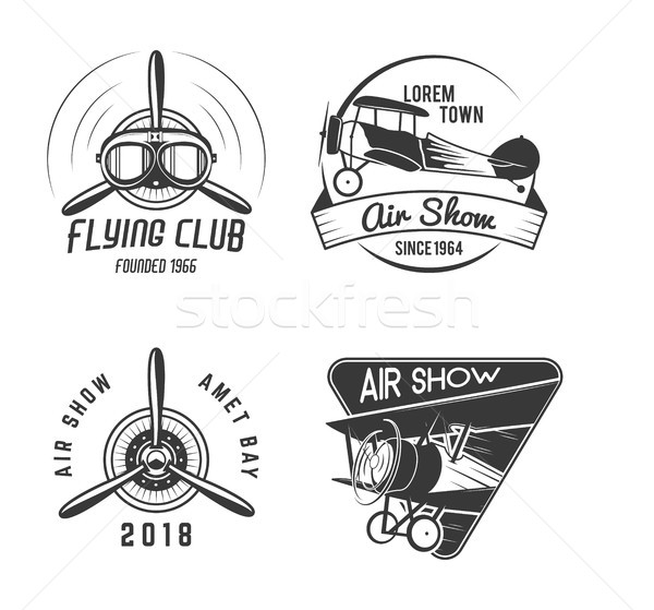 Vintage hand drawn old fly stamps. Travel or business airplane tour emblems. Biplane academy labels. Stock photo © JeksonGraphics
