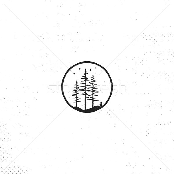 Hand drawn forest badge concept. Pine trees textured illustration with stars. Isolated on white back Stock photo © JeksonGraphics