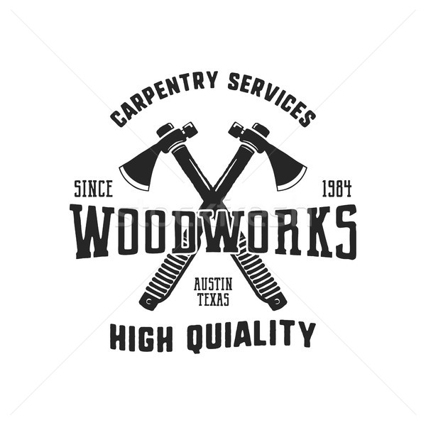 Vintage hand drawn woodworks logo and emblem. Carpentry service label. Typography lumberjack insigni Stock photo © JeksonGraphics