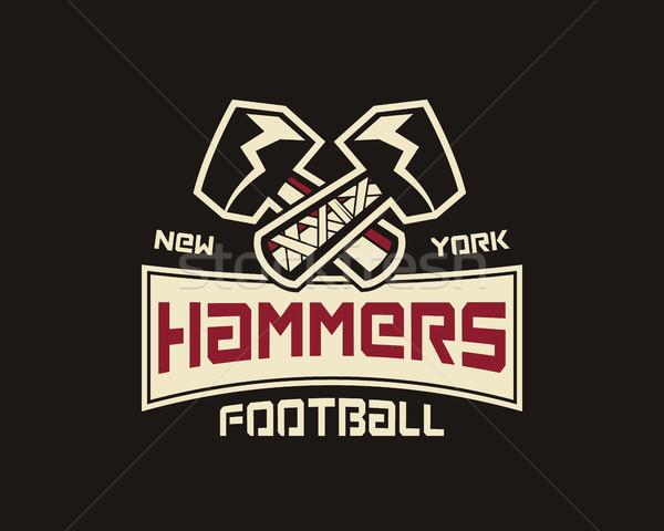 Amerikaanse voetbal label hamer logo element Stockfoto © JeksonGraphics