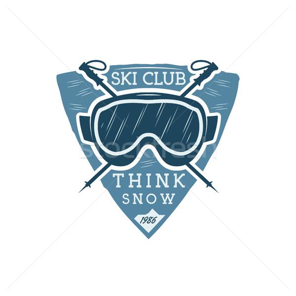 Winter sports ski club Label with goggles. Vintage Mountain explorer badge. Outdoor adventure logo d Stock photo © JeksonGraphics