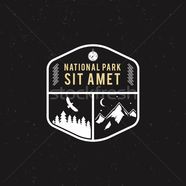 Stamp for national park, mountain camp. Tourism hipster style patch, badge. Expedition emblem. Winte Stock photo © JeksonGraphics