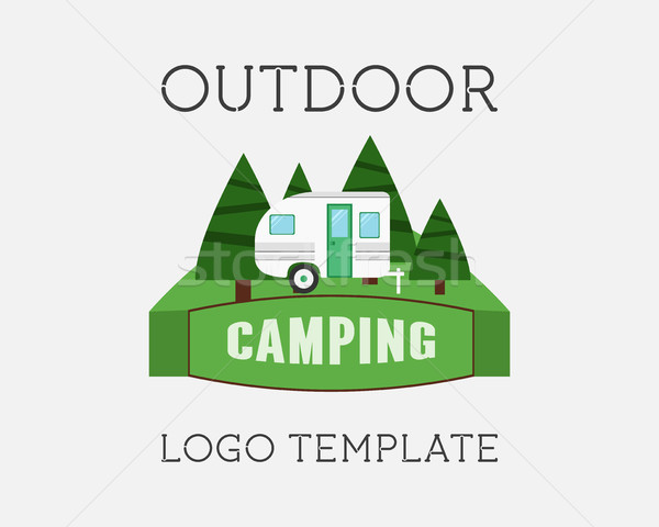 Adventure Outdoor Tourism Travel Logo Vintage Labels design vector templates. RV, forest holiday par Stock photo © JeksonGraphics