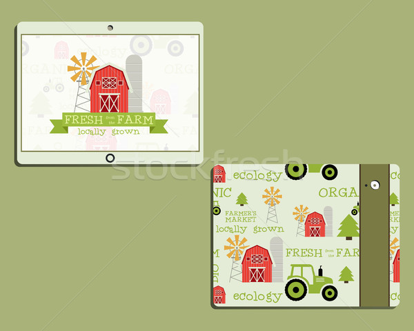 Corporate identity template design for natural and organic shop, farm products. Mobile device, table Stock photo © JeksonGraphics