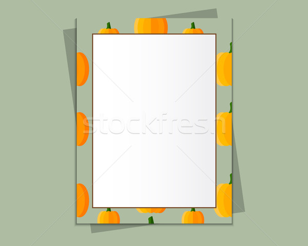 A4 Format paper design vector with text, picture frame and shadow. Organic and eco design. Pumpkin s Stock photo © JeksonGraphics
