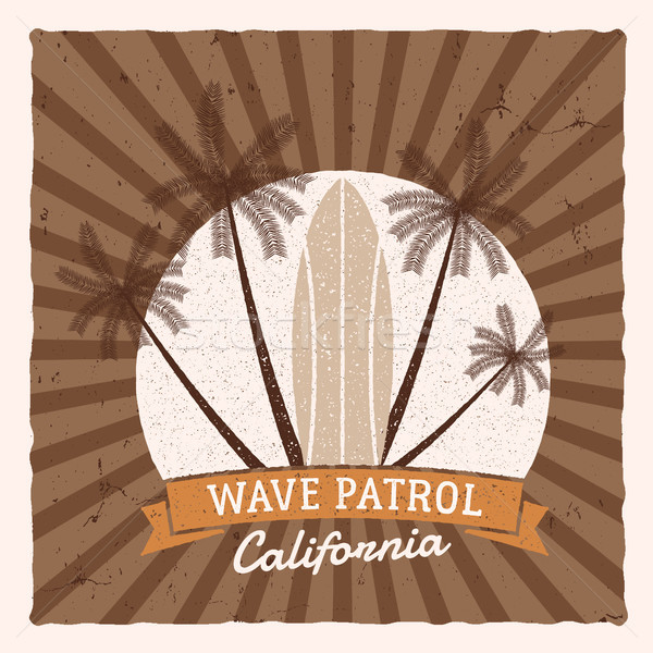 Vintage Surfing Graphics and Poster for web design or print. Surfer, beach style logo design. Surf B Stock photo © JeksonGraphics