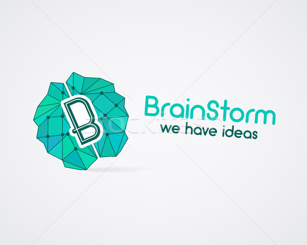 Brainstorm, brain, creation and idea logo template and elements. Solve problems business company log Stock photo © JeksonGraphics