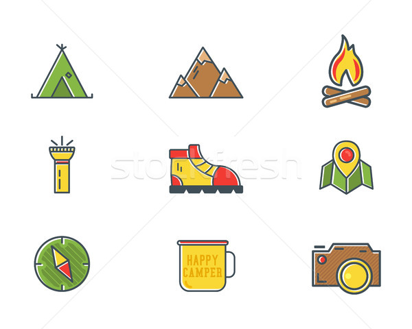 Summer and winter mountain explorer camp icons in flat style. Travel, hiking, climbing pictograms. B Stock photo © JeksonGraphics
