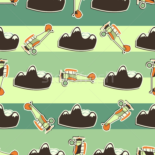 Cute airplane pattern. Doodle style. Old Biplanes seamless background with cartoon planes, mountain. Stock photo © JeksonGraphics