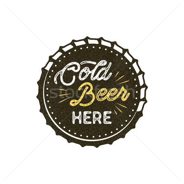 Vintage style beer badge. Ink stamp monochrome design. Cold beer here sign. Letterpress effect for t Stock photo © JeksonGraphics