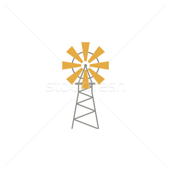 windmill flat icon isoltaed on white background. Vector Stock photo © JeksonGraphics