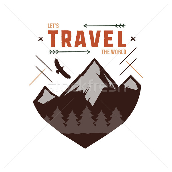 Vintage adventure Hand drawn label design. Let s travel the World sign and outdoor activity symbols  Stock photo © JeksonGraphics
