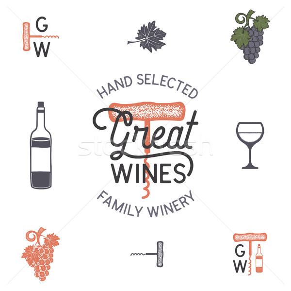 Wine, winery logo and icons, elements. Drink, alcoholic beverage symbol, monogram. Wine bottle, glas Stock photo © JeksonGraphics
