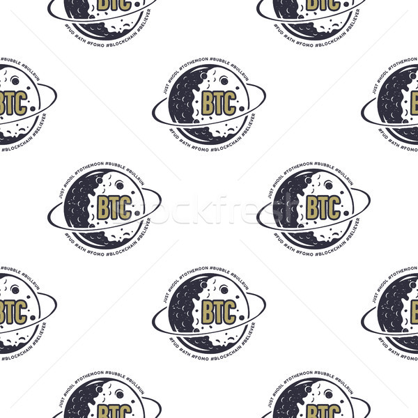 Crypto BTC seamless concept. Bitcoin pattern with moon symbols. Blockchain wallpaper background. Sto Stock photo © JeksonGraphics