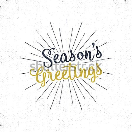 Stock photo: Christmas greetings lettering, holiday wish, saying and vintage label. Season's greeting calligraphy