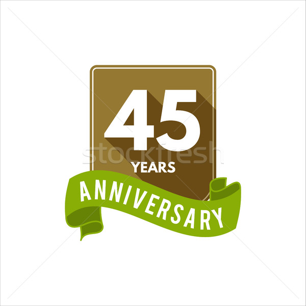 Stock photo: 45 years Anniversary badge, sign and emblem with ribbon and typography elements. Flat design with sh
