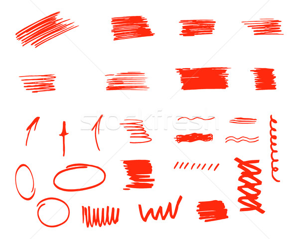 Stock photo: Different design elements, brush strokes isolated on white background. Set of unusual symbols and el