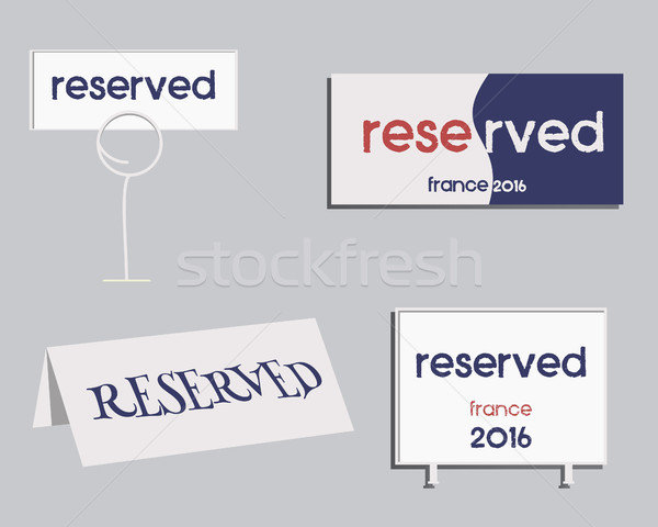 Reservation sign. France 2016 Football design. The national colors of France. Isolated on bright bac Stock photo © JeksonGraphics