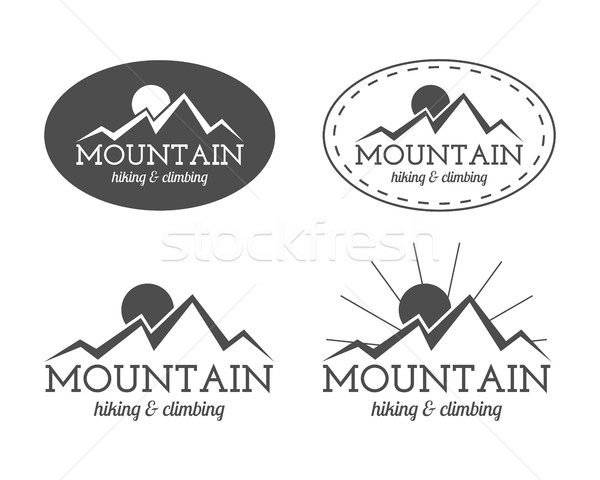 Set of monochrome mountain camp badge, logo and label templates. Travel, hiking, climbing style. Out Stock photo © JeksonGraphics