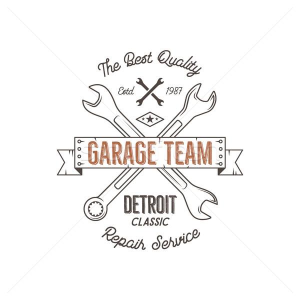 Garagem serviço vintage projeto gráficos clássico Foto stock © JeksonGraphics