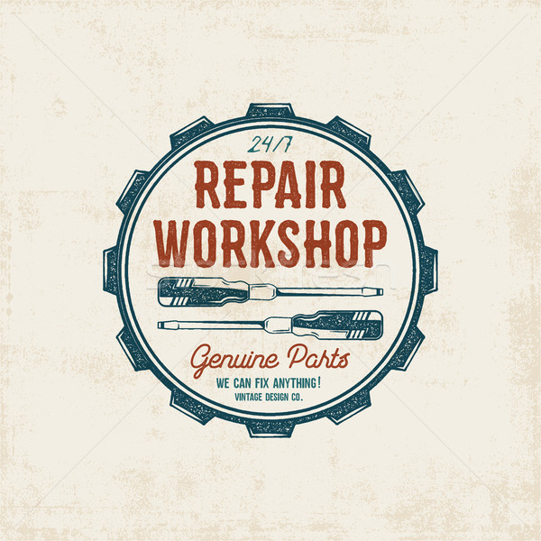 Repair workshop vintage label design. Retro patch in old style with screwdrivers. Use for station, c Stock photo © JeksonGraphics