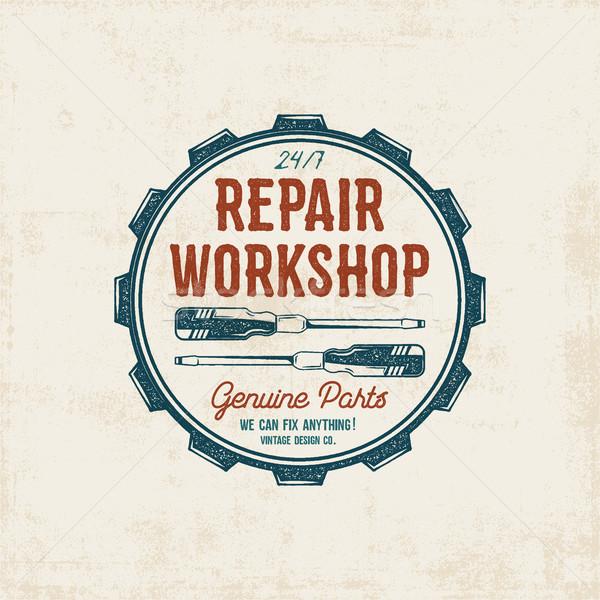 Réparation atelier vintage étiquette design rétro Photo stock © JeksonGraphics