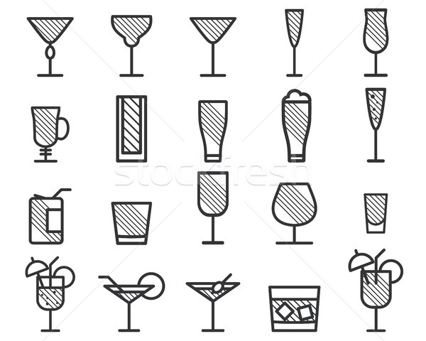 Beverage, drinks vector thin line symbol icon. Beer, Cocktails. Party outline elements isolated on w Stock photo © JeksonGraphics