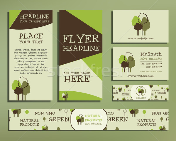 Green and organic corporate identity set template with tree elements. company style for brandbook an Stock photo © JeksonGraphics