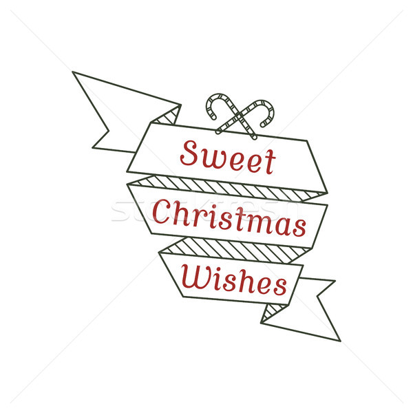 Sweet Christmas wishes typography sign. illustration of calligraphy label. Use for holiday photo ove Stock photo © JeksonGraphics