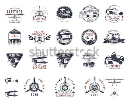 Szett klasszikus kézzel készített címkék logók izolált Stock fotó © JeksonGraphics