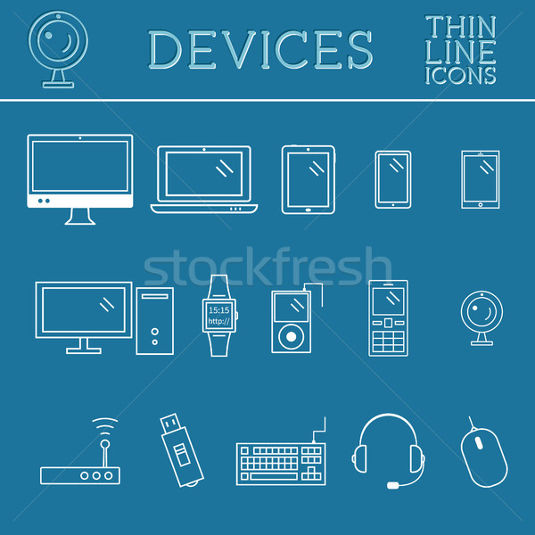 Trendi pc számítógép mobil kütyük berendezés Stock fotó © JeksonGraphics