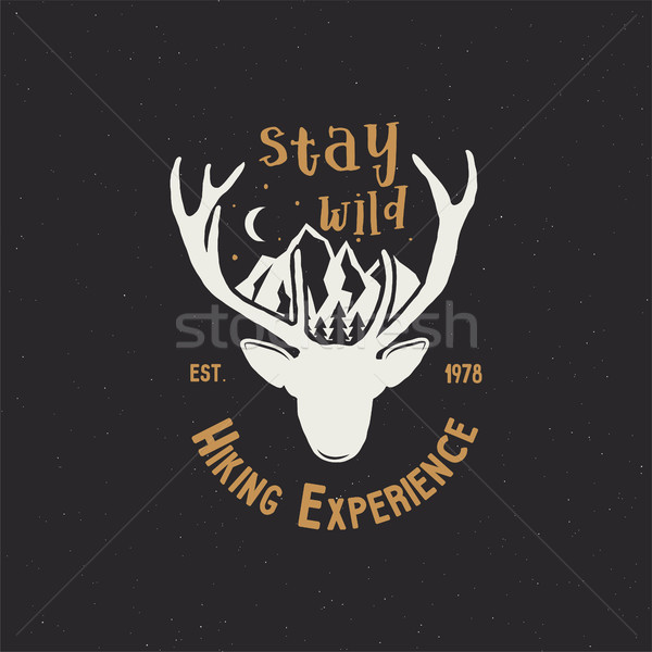 Vintage camping badge wandelen label Stockfoto © JeksonGraphics