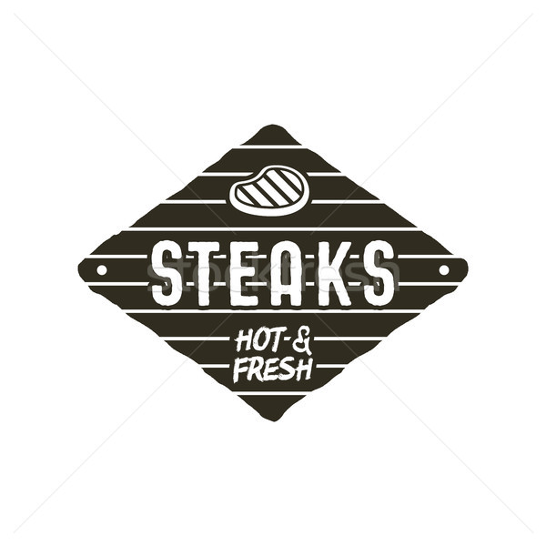 Steaks old style patch. Rustic design. BBQ badge template. Stock vector isolated on white background Stock photo © JeksonGraphics