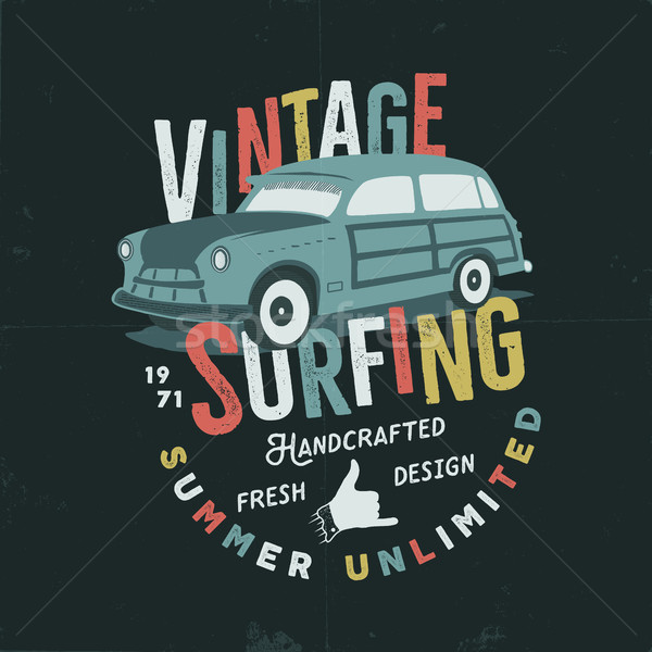 Vintage hand drawn tee print vector design with retro surf car, shaka sign and typography elements.  Stock photo © JeksonGraphics