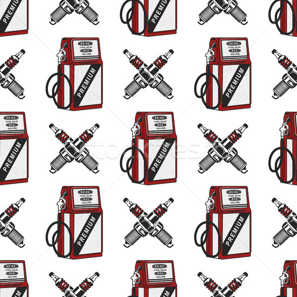Gas station pump with sparking-plug seamless design. Vintage hand drawn oil station pattern. Stock v Stock photo © JeksonGraphics